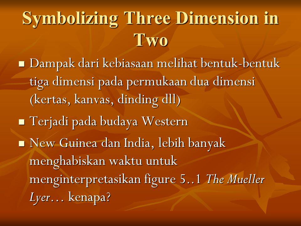 Symbolizing Three Dimension in Two Dampak dari kebiasaan melihat bentuk-bentuk tiga dimensi pada permukaan dua dimensi (kertas, kanvas, dinding dll) Dampak dari kebiasaan melihat bentuk-bentuk tiga dimensi pada permukaan dua dimensi (kertas, kanvas, dinding dll) Terjadi pada budaya Western Terjadi pada budaya Western New Guinea dan India, lebih banyak menghabiskan waktu untuk menginterpretasikan figure 5..1 The Mueller Lyer… kenapa.