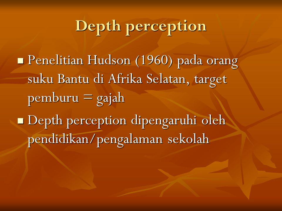 Depth perception Penelitian Hudson (1960) pada orang suku Bantu di Afrika Selatan, target pemburu = gajah Penelitian Hudson (1960) pada orang suku Bantu di Afrika Selatan, target pemburu = gajah Depth perception dipengaruhi oleh pendidikan/pengalaman sekolah Depth perception dipengaruhi oleh pendidikan/pengalaman sekolah