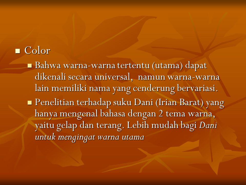 Color Color Bahwa warna-warna tertentu (utama) dapat dikenali secara universal, namun warna-warna lain memiliki nama yang cenderung bervariasi.