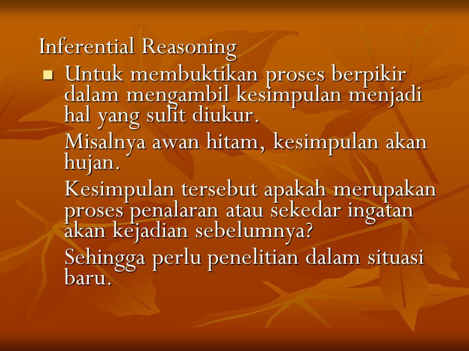 Inferential Reasoning Inferential Reasoning Untuk membuktikan proses berpikir dalam mengambil kesimpulan menjadi hal yang sulit diukur.