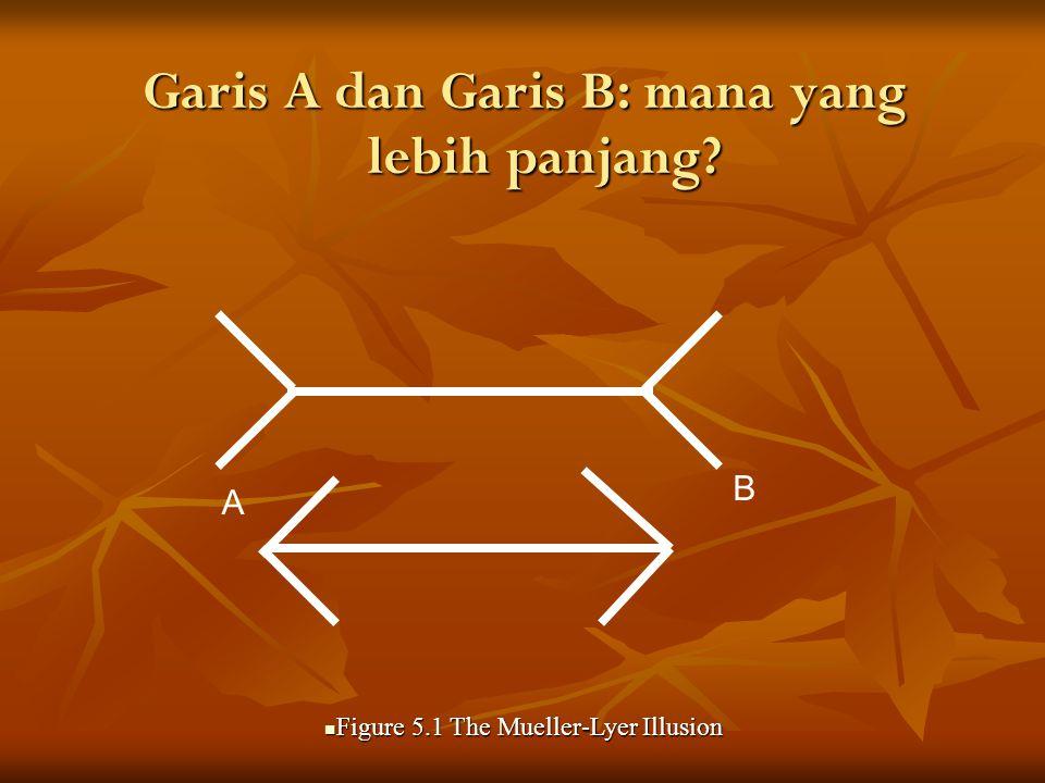 Garis A dan Garis B: mana yang lebih panjang.