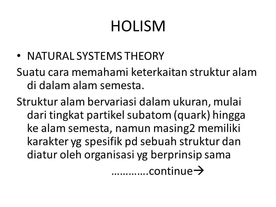 HOLISM NATURAL SYSTEMS THEORY Suatu cara memahami keterkaitan struktur alam di dalam alam semesta. Struktur alam bervariasi dalam ukuran, mulai dari t
