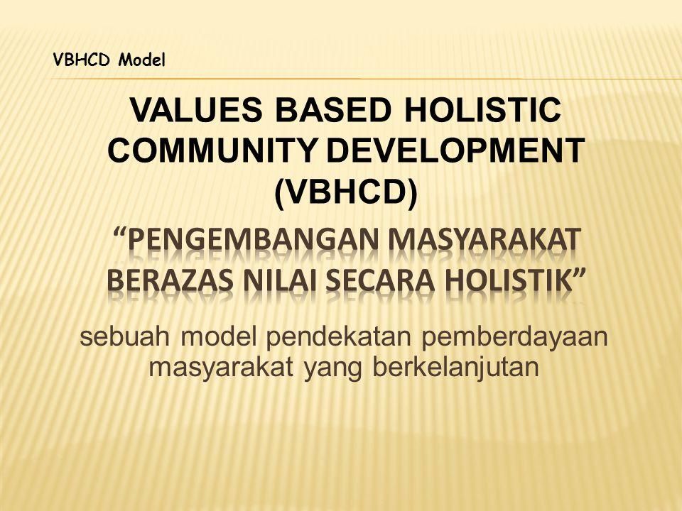 VALUES BASED HOLISTIC COMMUNITY DEVELOPMENT (VBHCD) sebuah model pendekatan pemberdayaan masyarakat yang berkelanjutan VBHCD Model