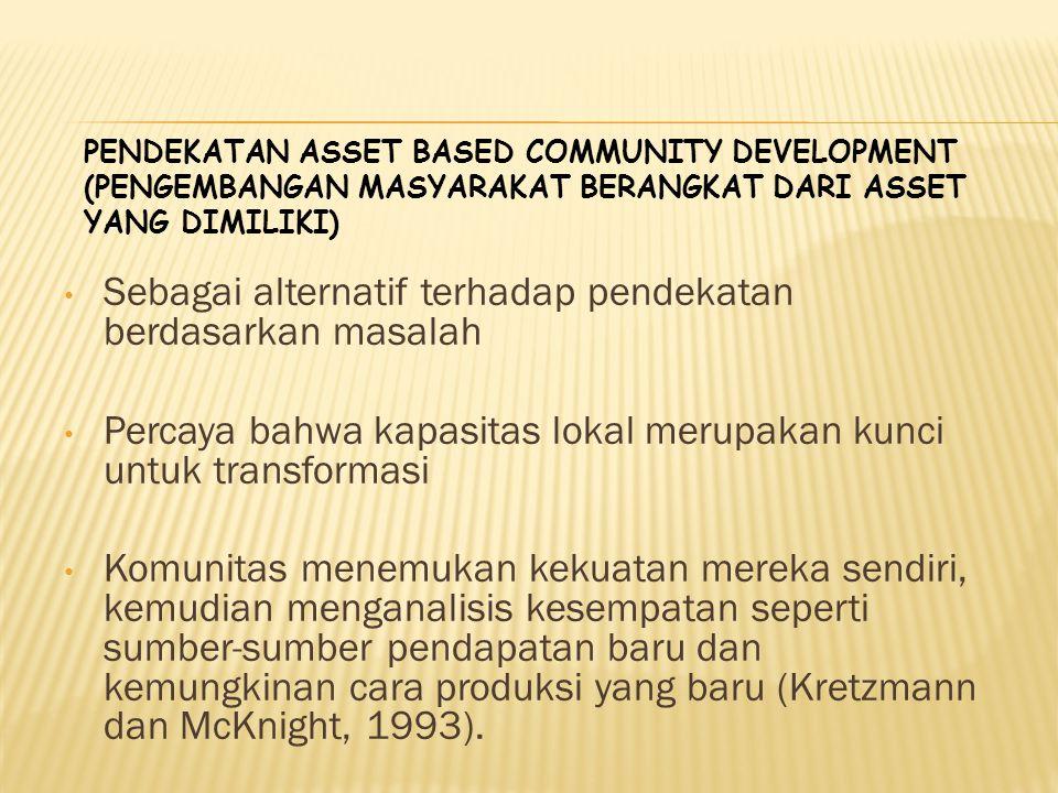 PENDEKATAN ASSET BASED COMMUNITY DEVELOPMENT (PENGEMBANGAN MASYARAKAT BERANGKAT DARI ASSET YANG DIMILIKI) Sebagai alternatif terhadap pendekatan berda