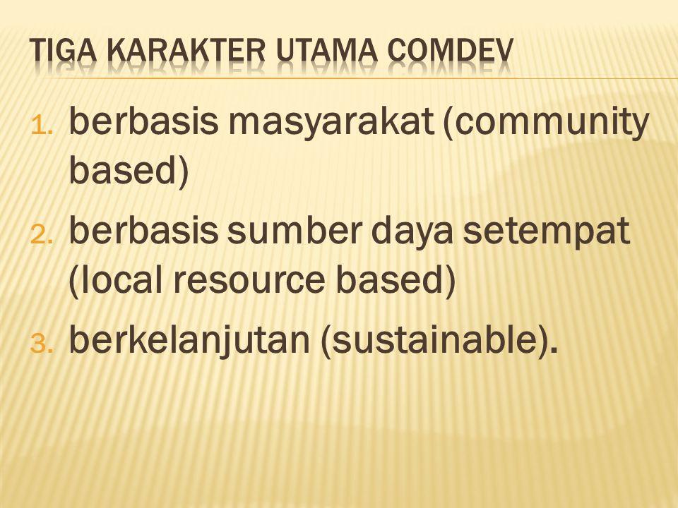 1. berbasis masyarakat (community based) 2. berbasis sumber daya setempat (local resource based) 3. berkelanjutan (sustainable).