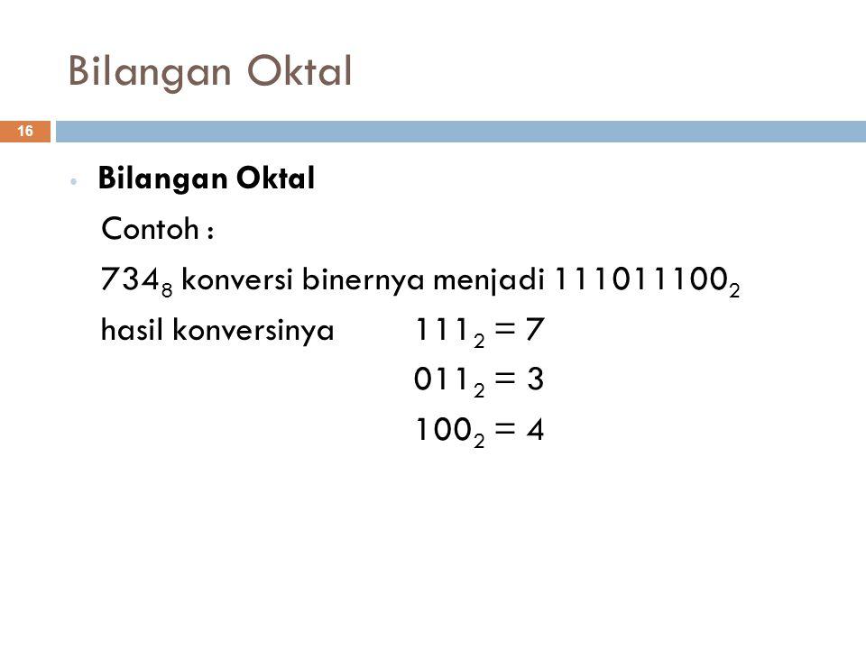 Bilangan Oktal Contoh : 734 8 konversi binernya menjadi 111011100 2 hasil konversinya 111 2 = 7 011 2 = 3 100 2 = 4 16