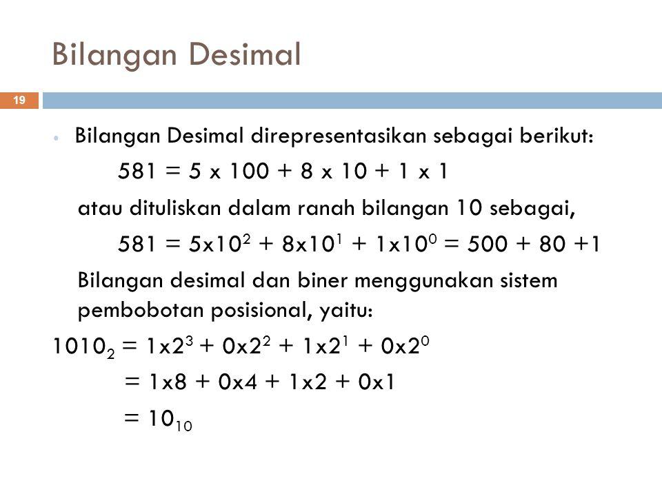 Bilangan Desimal Bilangan Desimal direpresentasikan sebagai berikut: 581 = 5 x 100 + 8 x 10 + 1 x 1 atau dituliskan dalam ranah bilangan 10 sebagai, 5