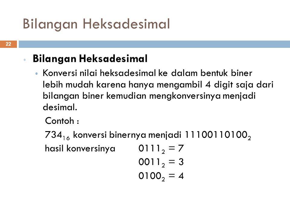 Bilangan Heksadesimal Konversi nilai heksadesimal ke dalam bentuk biner lebih mudah karena hanya mengambil 4 digit saja dari bilangan biner kemudian m