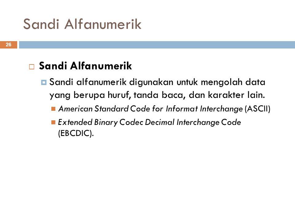 Sandi Alfanumerik  Sandi Alfanumerik  Sandi alfanumerik digunakan untuk mengolah data yang berupa huruf, tanda baca, dan karakter lain. American Sta