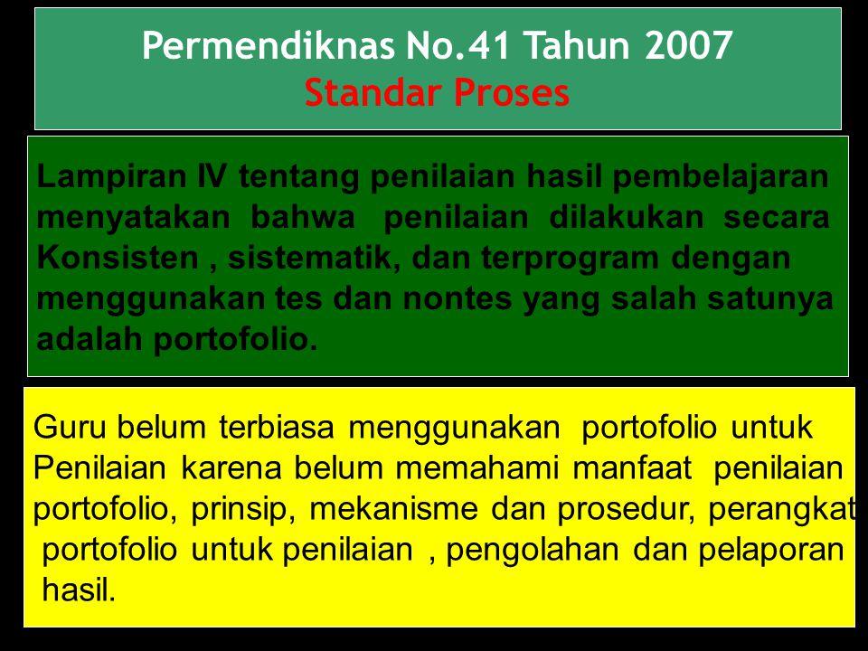 3 Permendiknas No.41 Tahun 2007 Standar Proses Lampiran IV tentang penilaian hasil pembelajaran menyatakan bahwa penilaian dilakukan secara Konsisten, sistematik, dan terprogram dengan menggunakan tes dan nontes yang salah satunya adalah portofolio.