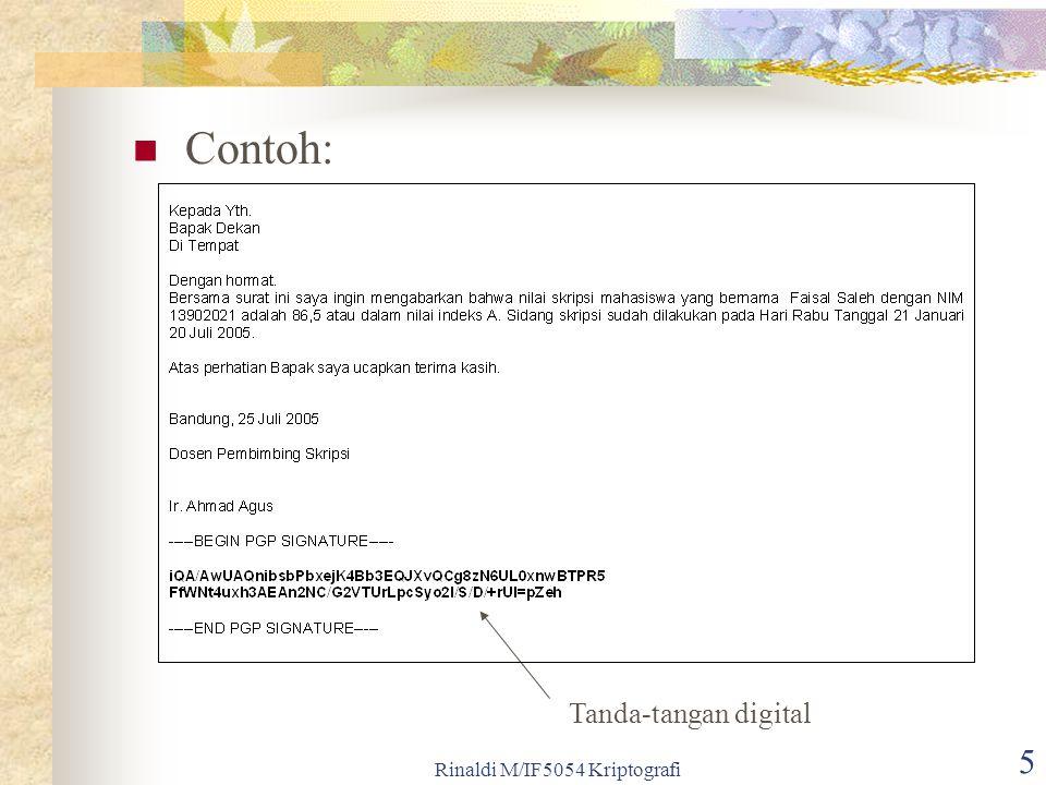 Rinaldi M/IF5054 Kriptografi 5 Contoh: Tanda-tangan digital