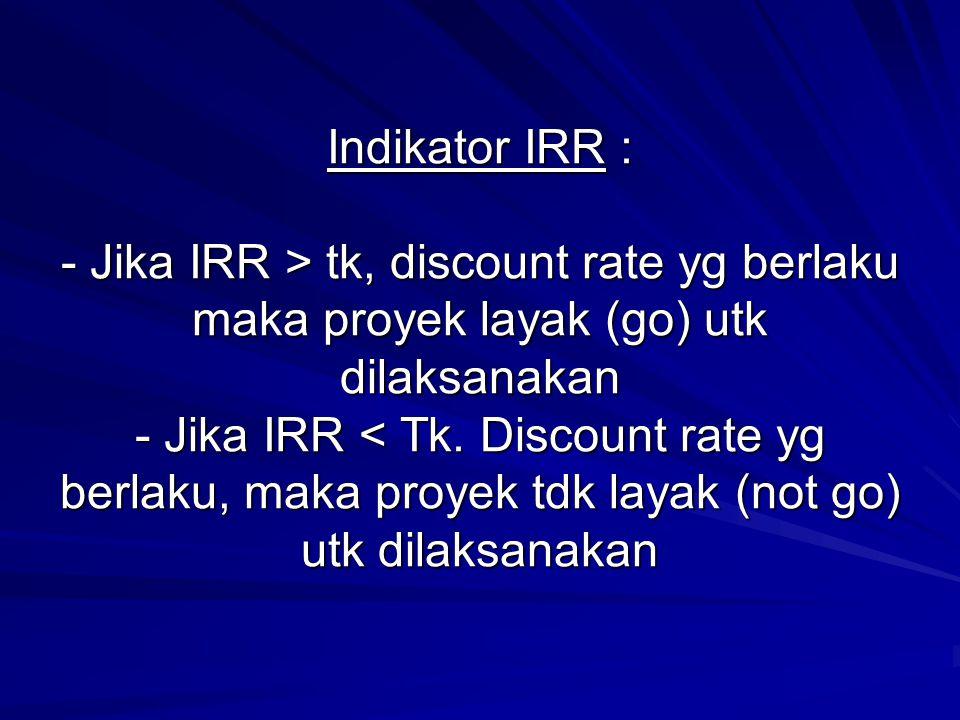 Indikator IRR : - Jika IRR > tk, discount rate yg berlaku maka proyek layak (go) utk dilaksanakan - Jika IRR tk, discount rate yg berlaku maka proyek