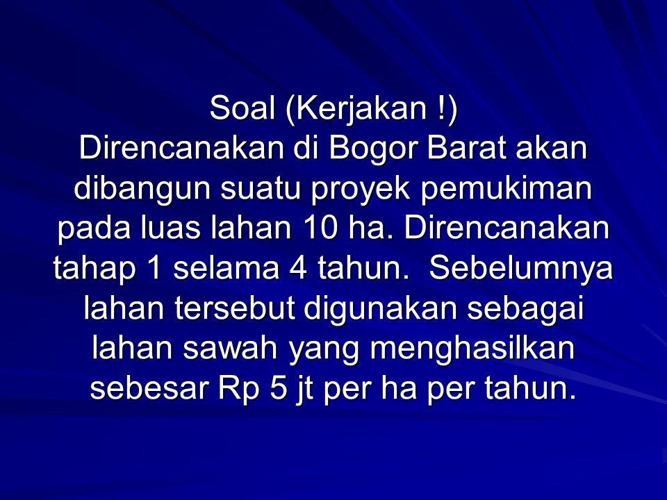 Soal (Kerjakan !) Direncanakan di Bogor Barat akan dibangun suatu proyek pemukiman pada luas lahan 10 ha. Direncanakan tahap 1 selama 4 tahun. Sebelum