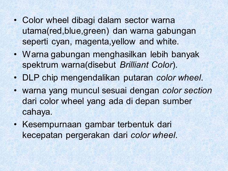 Color wheel dibagi dalam sector warna utama(red,blue,green) dan warna gabungan seperti cyan, magenta,yellow and white. Warna gabungan menghasilkan leb