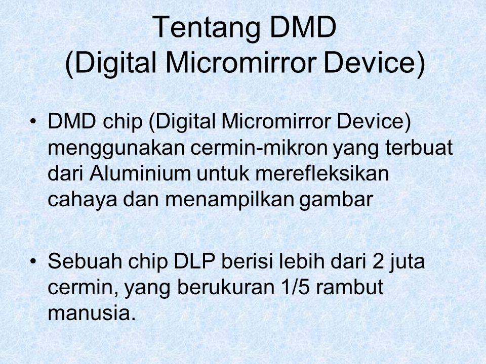 Tentang DMD (Digital Micromirror Device) DMD chip (Digital Micromirror Device) menggunakan cermin-mikron yang terbuat dari Aluminium untuk merefleksik