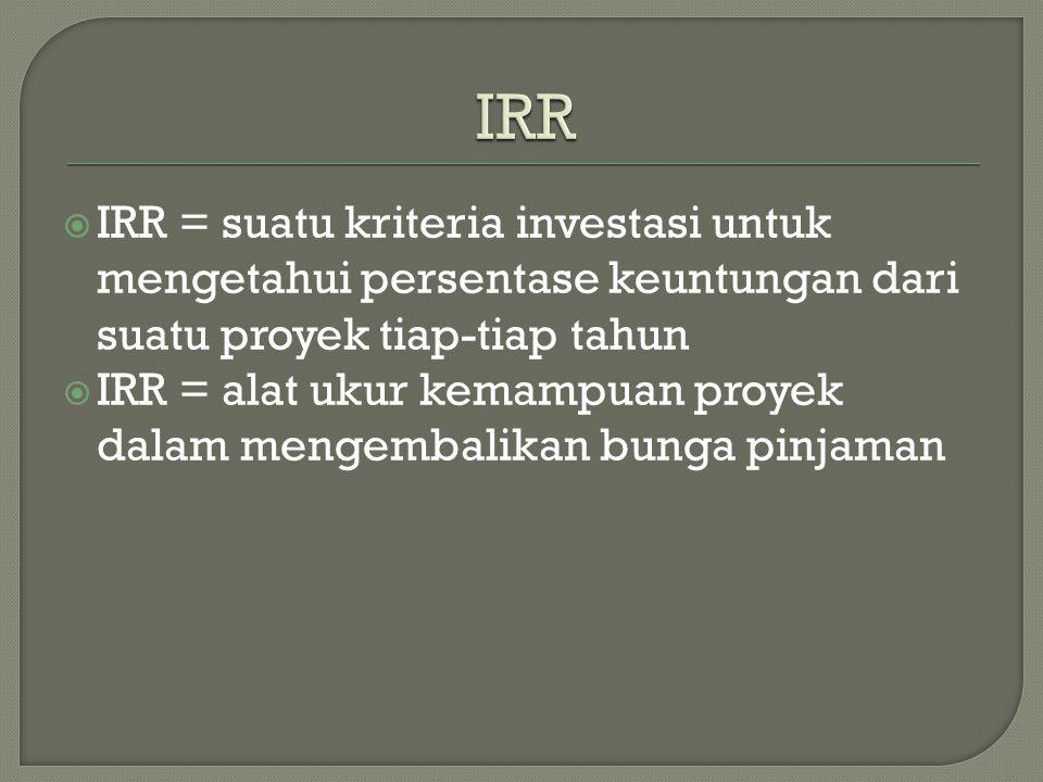 IRR = suatu kriteria investasi untuk mengetahui persentase keuntungan dari suatu proyek tiap-tiap tahun  IRR = alat ukur kemampuan proyek dalam mengembalikan bunga pinjaman