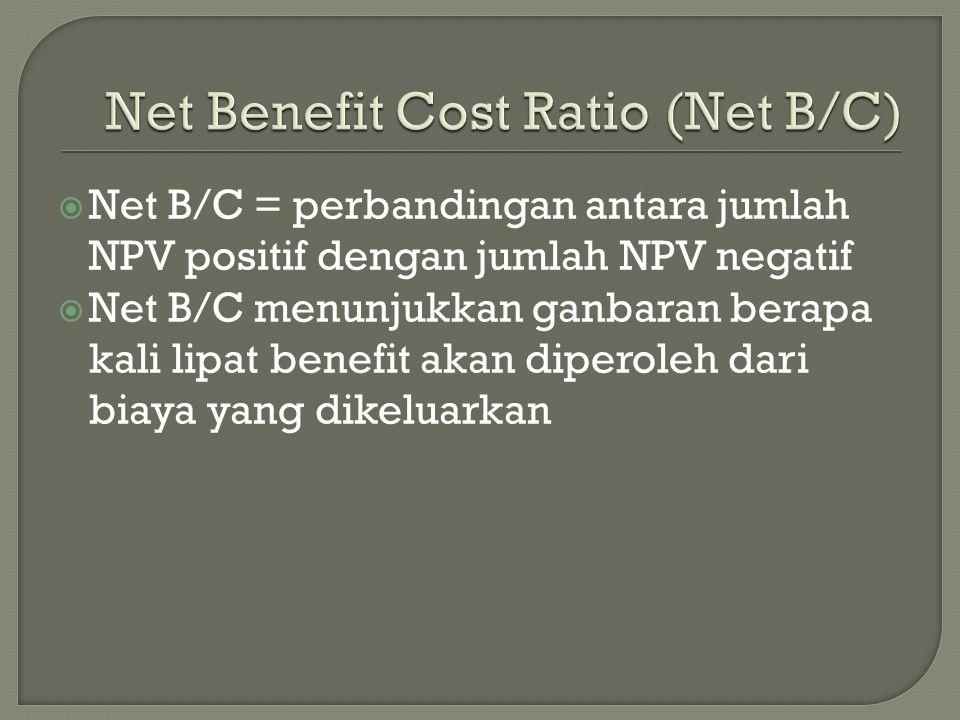  Net B/C = perbandingan antara jumlah NPV positif dengan jumlah NPV negatif  Net B/C menunjukkan ganbaran berapa kali lipat benefit akan diperoleh dari biaya yang dikeluarkan