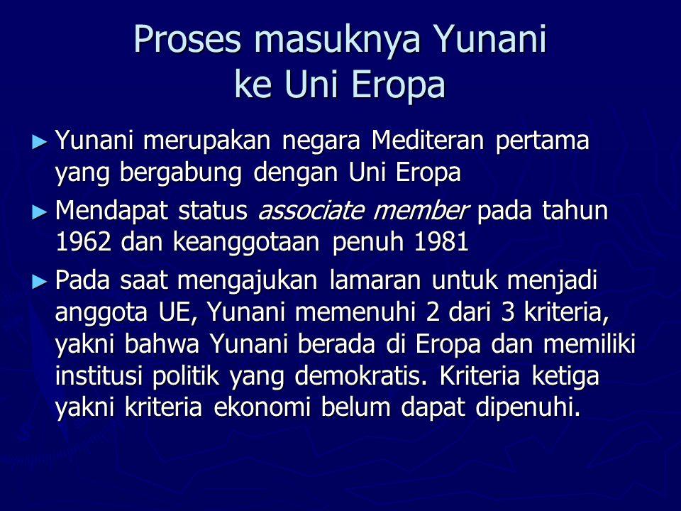Proses masuknya Yunani ke Uni Eropa ► Tahun 1967 pemerintahan demokratis Yunani dikudeta oleh militer sehingga proses lamaran ke EC menjadi terhambat selama sekitar 7 tahun.