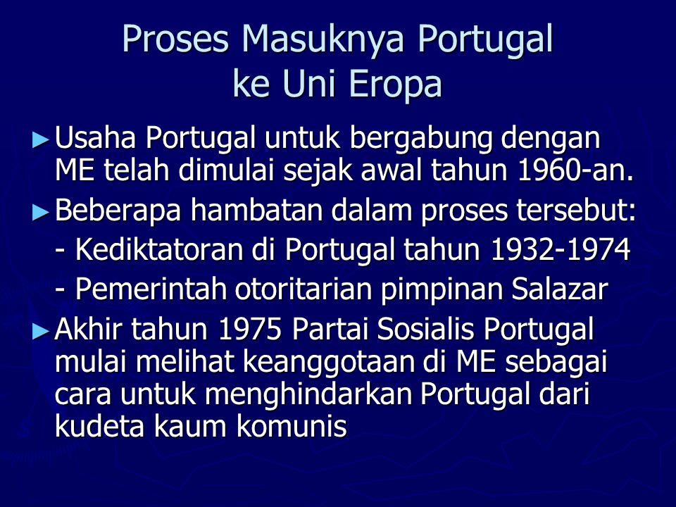 Proses Masuknya Portugal ke Uni Eropa ► Kesulitan ekonomi pascapemerintahan diktator ► Aplikasi Portugal diterima tahun 1977.