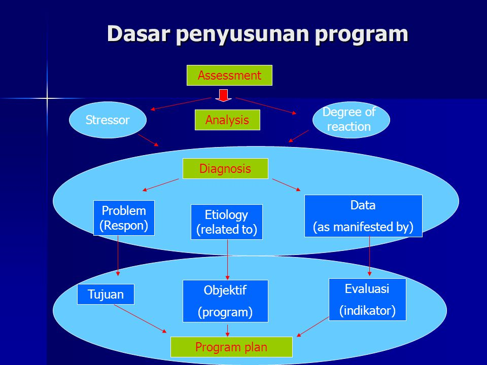Stressor Dasar penyusunan program Program plan Tujuan Objektif (program) Evaluasi (indikator) Problem (Respon) Etiology (related to) Data (as manifested by) Diagnosis Analysis Assessment Degree of reaction