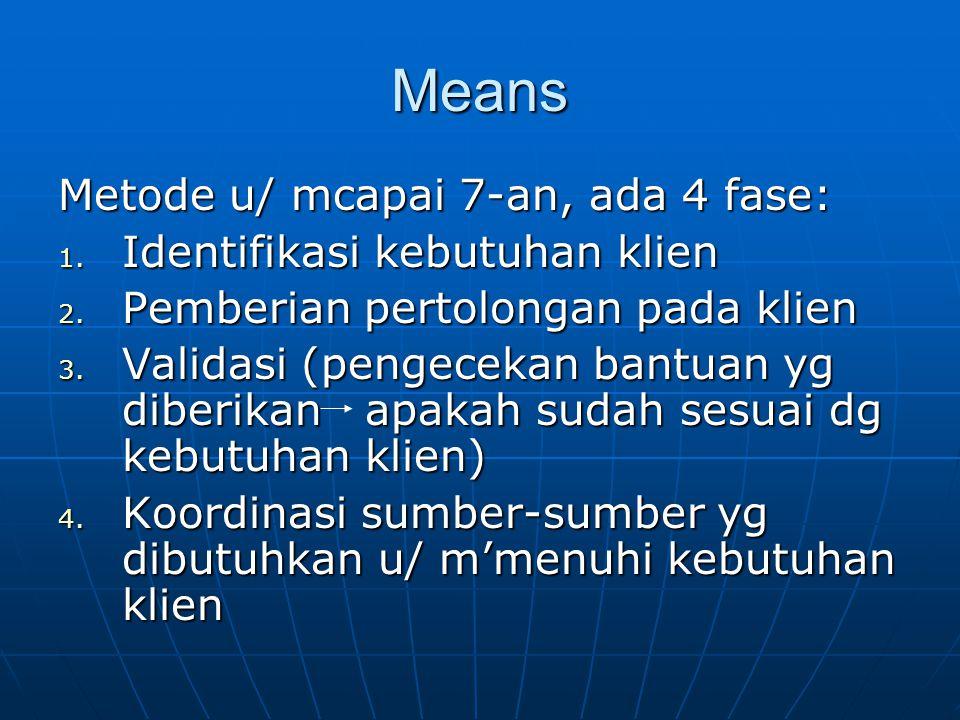 Means Metode u/ mcapai 7-an, ada 4 fase: 1.Identifikasi kebutuhan klien 2.