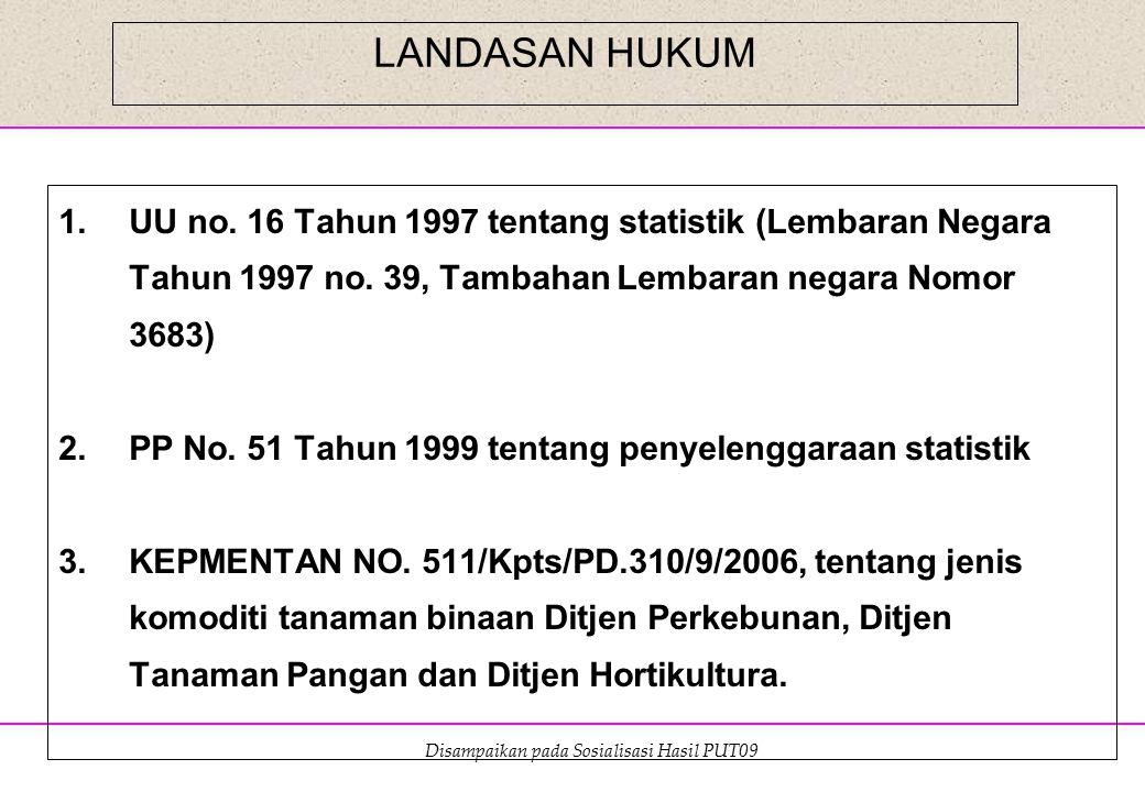 Disampaikan pada Sosialisasi Hasil PUT09 LANDASAN HUKUM 1.UU no. 16 Tahun 1997 tentang statistik (Lembaran Negara Tahun 1997 no. 39, Tambahan Lembaran