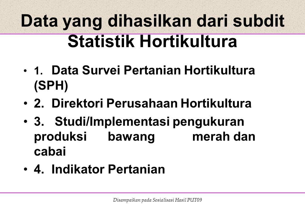 Disampaikan pada Sosialisasi Hasil PUT09 Data yang dihasilkan dari subdit Statistik Hortikultura 1. Data Survei Pertanian Hortikultura (SPH) 2. Direkt