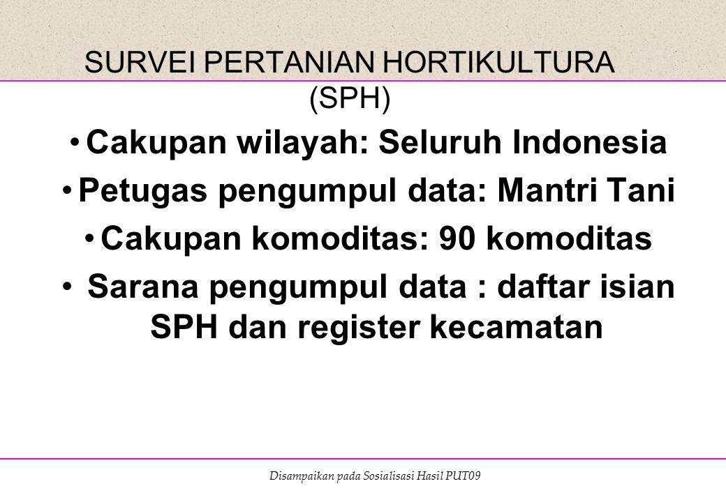 Disampaikan pada Sosialisasi Hasil PUT09 SURVEI PERTANIAN HORTIKULTURA (SPH) Cakupan wilayah: Seluruh Indonesia Petugas pengumpul data: Mantri Tani Ca