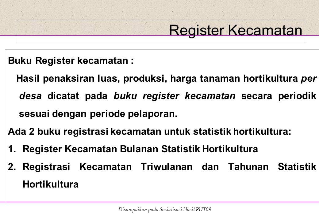 Disampaikan pada Sosialisasi Hasil PUT09 Register Kecamatan Buku Register kecamatan : Hasil penaksiran luas, produksi, harga tanaman hortikultura per