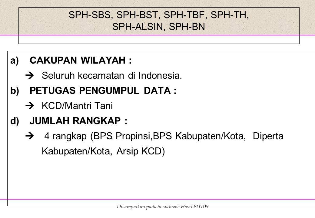 Disampaikan pada Sosialisasi Hasil PUT09 SPH-SBS, SPH-BST, SPH-TBF, SPH-TH, SPH-ALSIN, SPH-BN a)CAKUPAN WILAYAH :  Seluruh kecamatan di Indonesia. b)