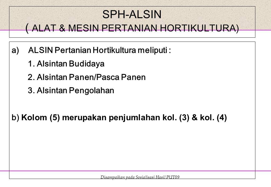 Disampaikan pada Sosialisasi Hasil PUT09 SPH-ALSIN ( ALAT & MESIN PERTANIAN HORTIKULTURA) a)ALSIN Pertanian Hortikultura meliputi : 1. Alsintan Budida