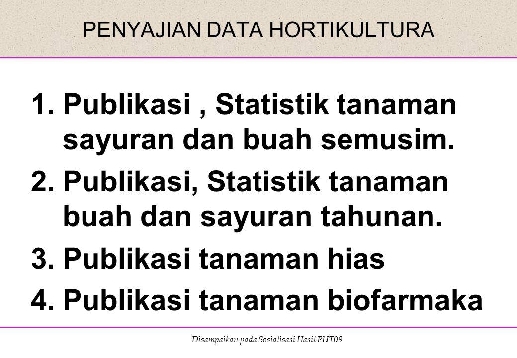 Disampaikan pada Sosialisasi Hasil PUT09 PENYAJIAN DATA HORTIKULTURA 1.Publikasi, Statistik tanaman sayuran dan buah semusim. 2.Publikasi, Statistik t