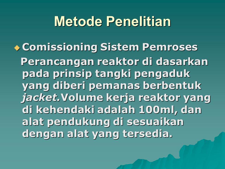 Metode Penelitian  Comissioning Sistem Pemroses Perancangan reaktor di dasarkan pada prinsip tangki pengaduk yang diberi pemanas berbentuk jacket.Volume kerja reaktor yang di kehendaki adalah 100ml, dan alat pendukung di sesuaikan dengan alat yang tersedia.