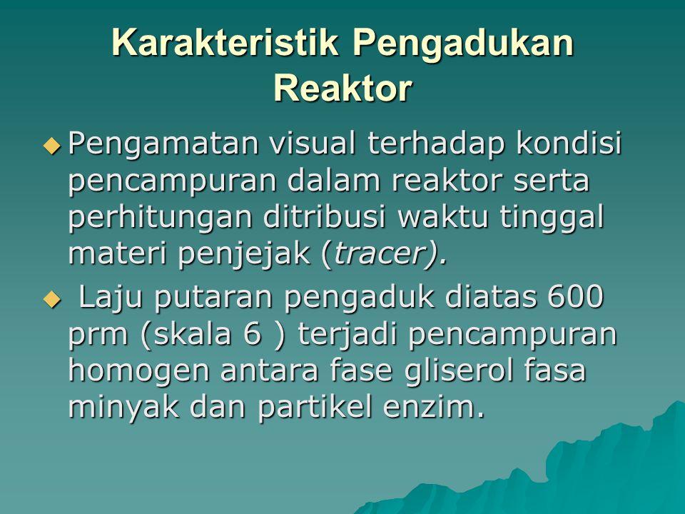 Karakteristik Pengadukan Reaktor  Pengamatan visual terhadap kondisi pencampuran dalam reaktor serta perhitungan ditribusi waktu tinggal materi penjejak (tracer).