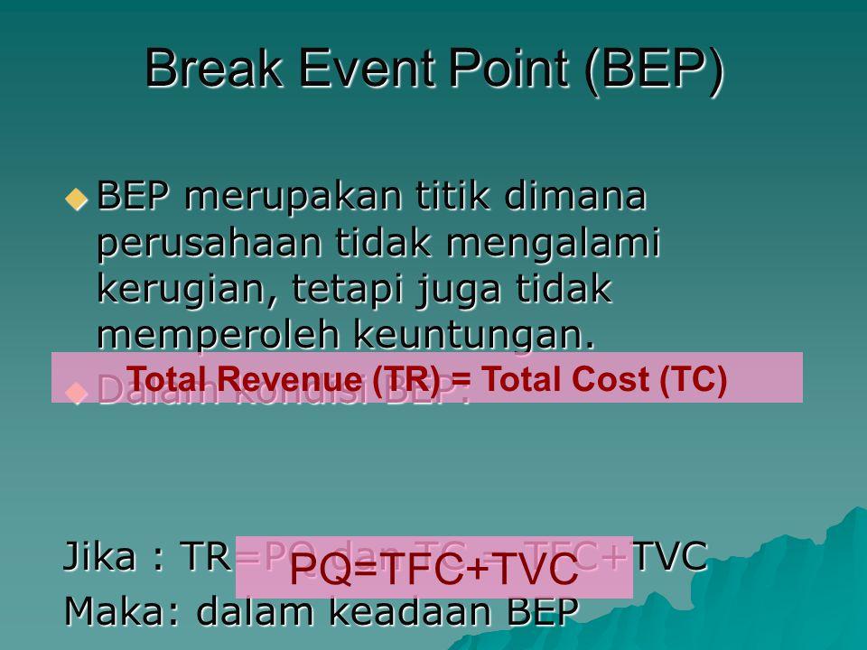 Break Event Point (BEP)  BEP merupakan titik dimana perusahaan tidak mengalami kerugian, tetapi juga tidak memperoleh keuntungan.