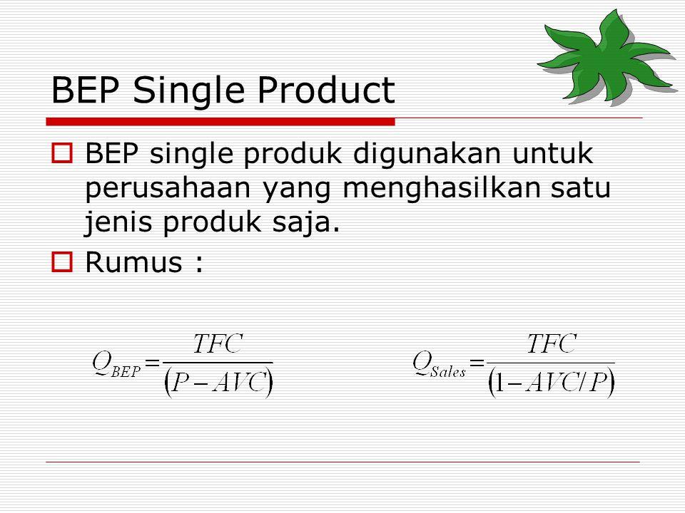 BEP Single Product  BEP single produk digunakan untuk perusahaan yang menghasilkan satu jenis produk saja.