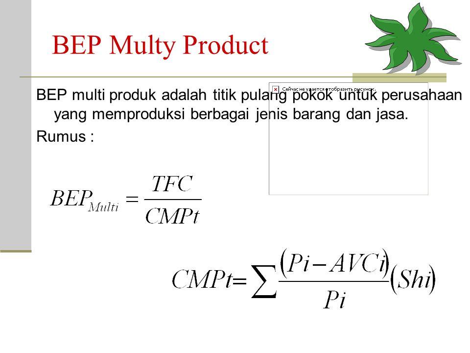 BEP Multy Product BEP multi produk adalah titik pulang pokok untuk perusahaan yang memproduksi berbagai jenis barang dan jasa.