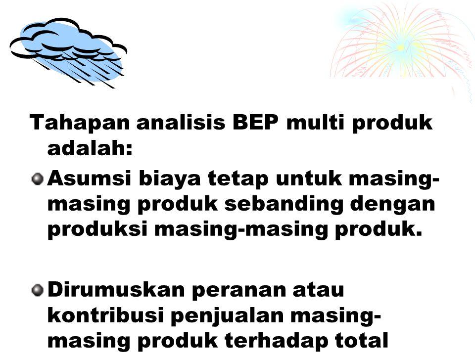 Tahapan analisis BEP multi produk adalah: Asumsi biaya tetap untuk masing- masing produk sebanding dengan produksi masing-masing produk.