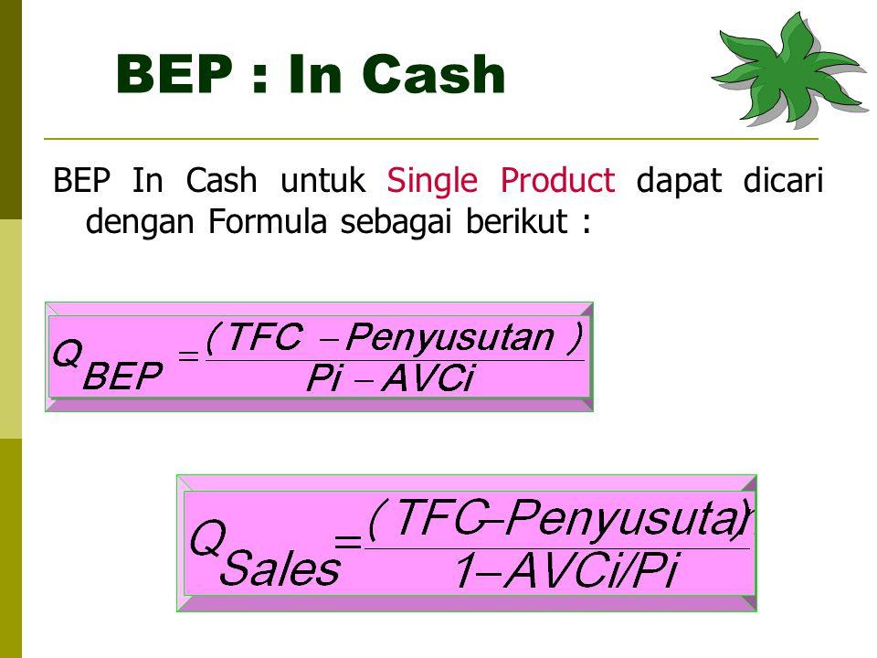 BEP : In Cash BEP In Cash untuk Single Product dapat dicari dengan Formula sebagai berikut :