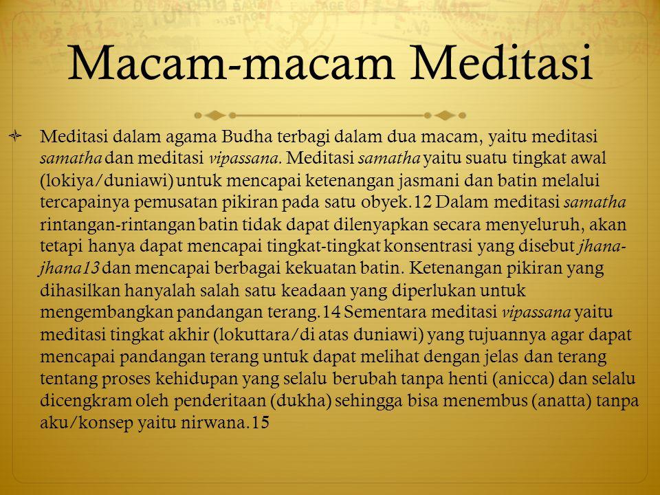 Macam-macam Meditasi  Meditasi dalam agama Budha terbagi dalam dua macam, yaitu meditasi samatha dan meditasi vipassana.
