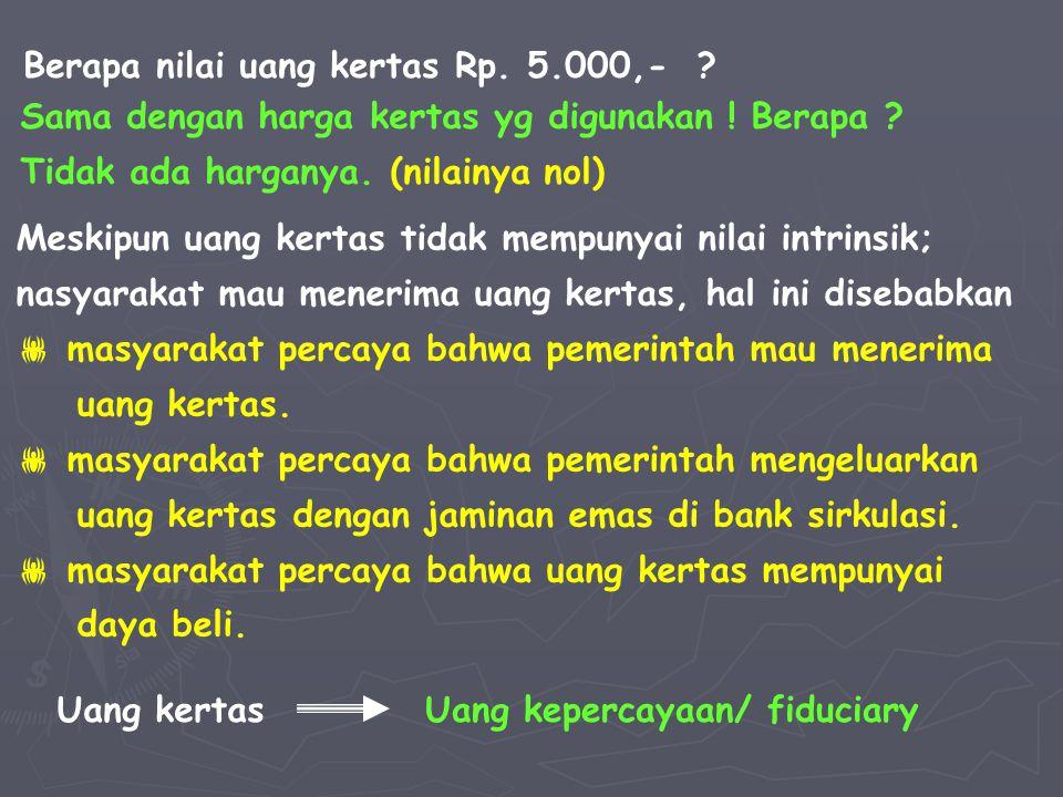 NILAI UANG NILAI EKSTERNAL NILAI INTRINSIK NILAI NOMINAL NILAI INTERNAL Nilai yang tertulis pada mata uang itu sendiri Nilai yg diukur dari jumlah barang yang dapat ditukar oleh suatu mata uang Nilai bahan pembuat mata uang Nilai suatu mata uang yang diukur dg mata uang negara lain