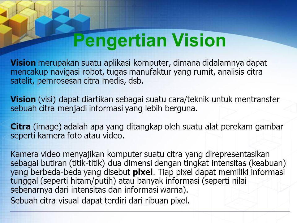 Pengertian Vision Vision merupakan suatu aplikasi komputer, dimana didalamnya dapat mencakup navigasi robot, tugas manufaktur yang rumit, analisis cit
