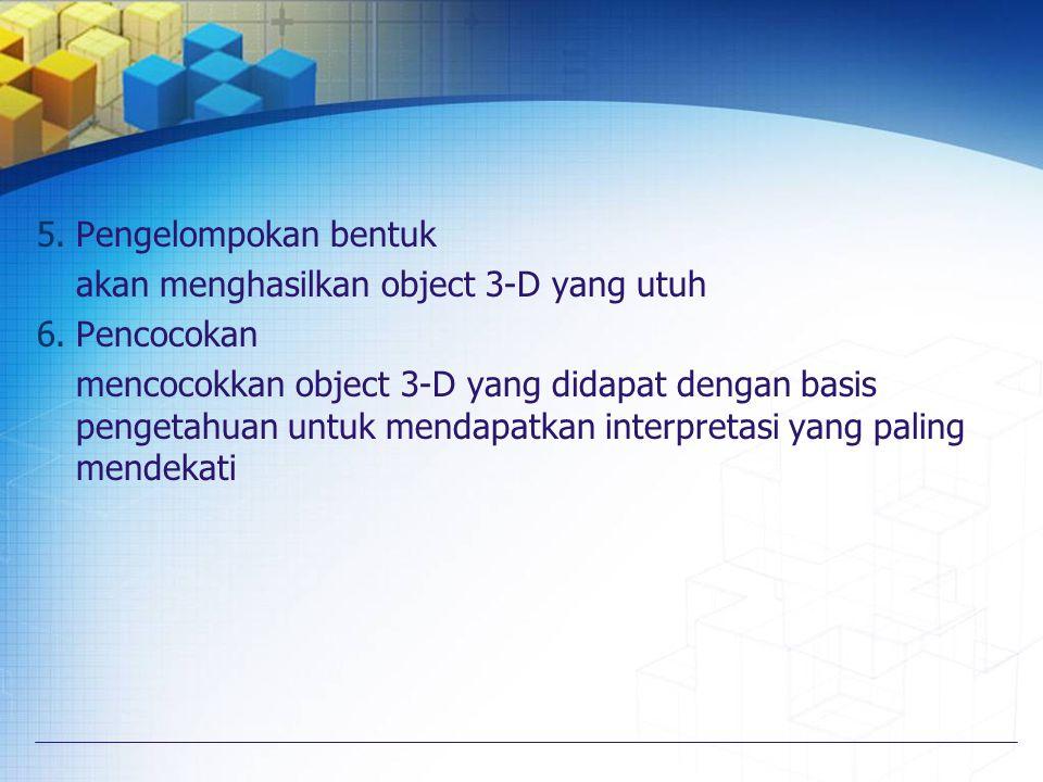 5.Pengelompokan bentuk akan menghasilkan object 3-D yang utuh 6.Pencocokan mencocokkan object 3-D yang didapat dengan basis pengetahuan untuk mendapat