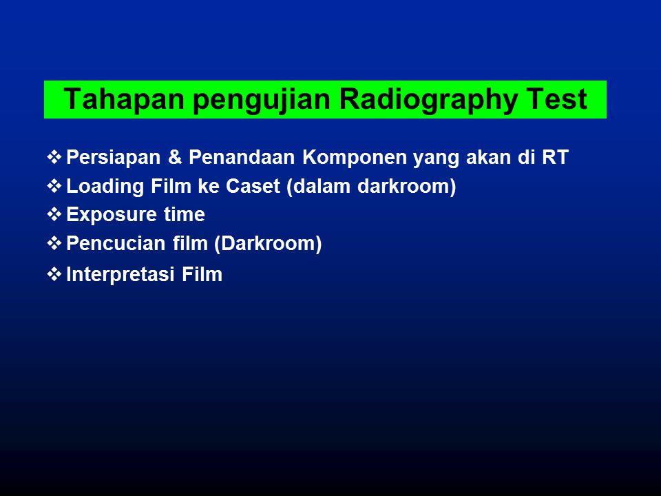  Persiapan & Penandaan Komponen yang akan di RT  Loading Film ke Caset (dalam darkroom)  Exposure time  Pencucian film (Darkroom)  Interpretasi F