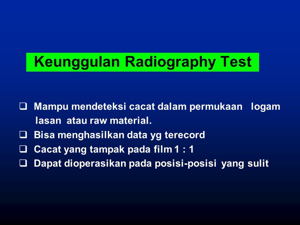 Keunggulan Radiography Test  Mampu mendeteksi cacat dalam permukaan logam lasan atau raw material.  Bisa menghasilkan data yg terecord  Cacat yang