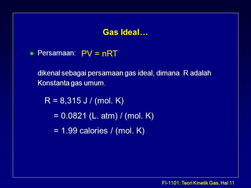 FI-1101: Teori Kinetik Gas, Hal 11 Gas Ideal… l Persamaan: dikenal sebagai persamaan gas ideal, dimana R adalah Konstanta gas umum. PV = nRT R = 8,315
