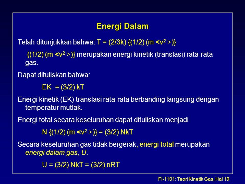 FI-1101: Teori Kinetik Gas, Hal 19 Energi Dalam Telah ditunjukkan bahwa: T = (2/3k) {(1/2) (m )} {(1/2) (m )} merupakan energi kinetik (translasi) rat