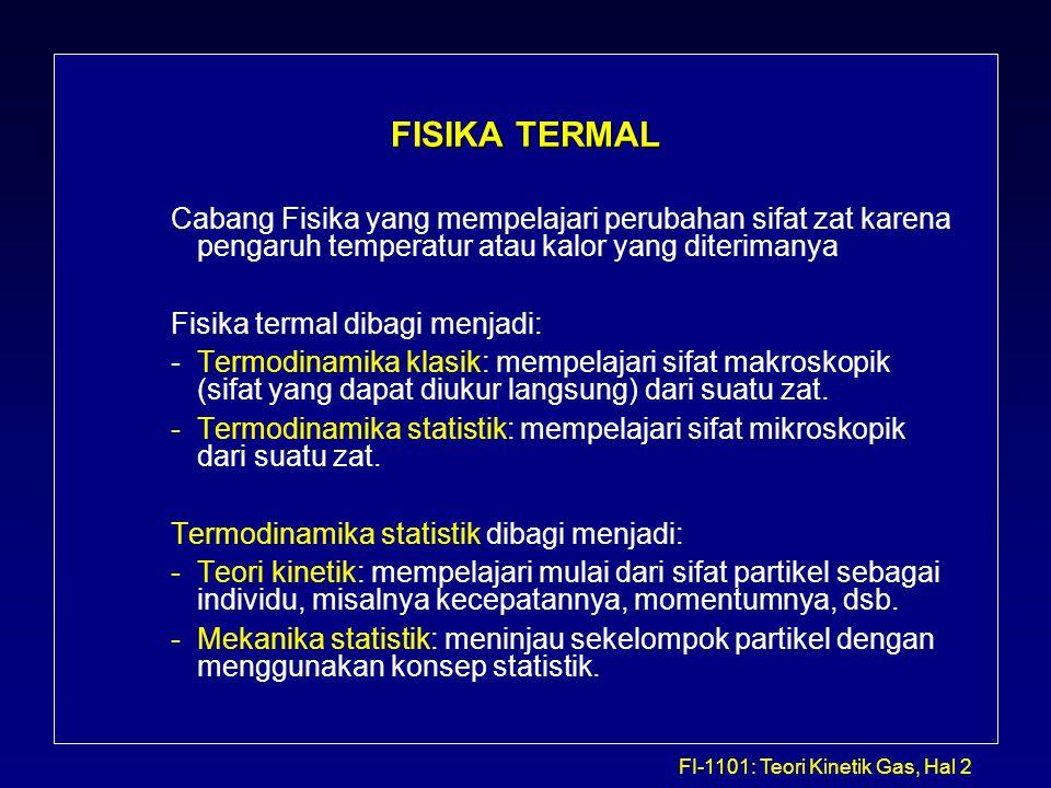 FI-1101: Teori Kinetik Gas, Hal 3 Ekspansi Termal Secara umum suatu bahan akan memuai jika dipanaskan dan menyusut jika didinginkan.