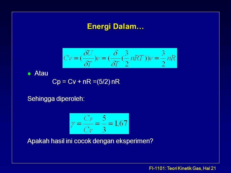 FI-1101: Teori Kinetik Gas, Hal 21 Energi Dalam… l Atau Cp = Cv + nR =(5/2) nR Sehingga diperoleh: Apakah hasil ini cocok dengan eksperimen?