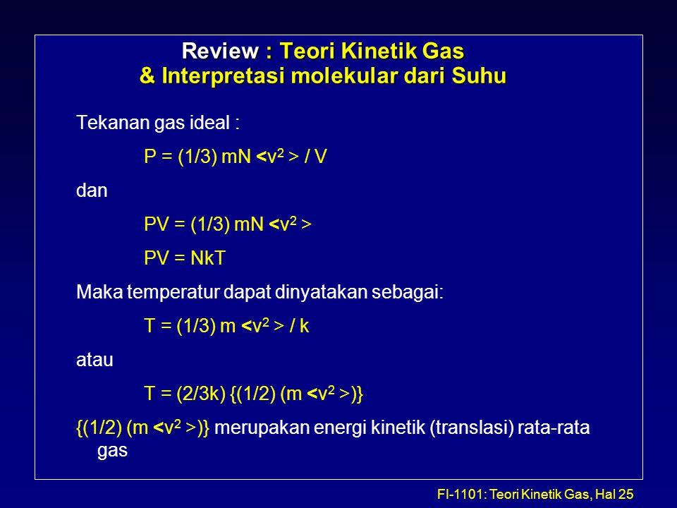 FI-1101: Teori Kinetik Gas, Hal 25 Review : Teori Kinetik Gas & Interpretasi molekular dari Suhu Tekanan gas ideal : P = (1/3) mN / V dan PV = (1/3) m